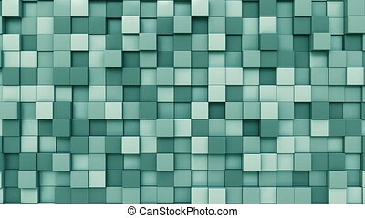 Moving cyan cubes - Swaying cyan squares motion background