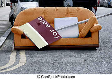 Moving Day - Sofa in Street For Sale - An orange sofa in a...