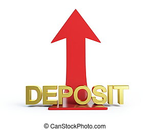 moving deposit arrow on a white background - moving deposit...