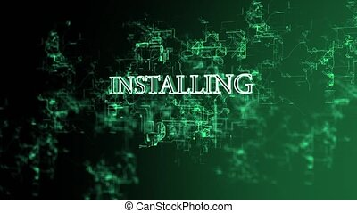 """Moving digital grid with """"Installing"""" text - 3D animation of..."""
