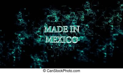 """Moving digital grid with """"Made in Mexico"""" text - 3D..."""