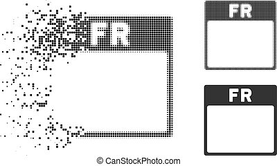 Moving Dot Halftone Friday Calendar Page Icon - Friday...