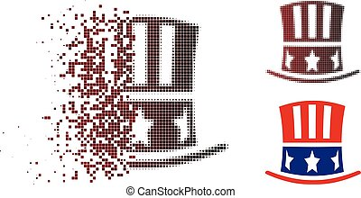 Moving Dot Halftone Uncle Sam Hat Icon