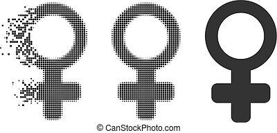 Moving Dotted Halftone Female Symbol Icon