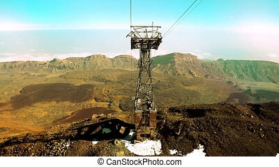 Moving down by funicular on cableway in Teide volcano park...