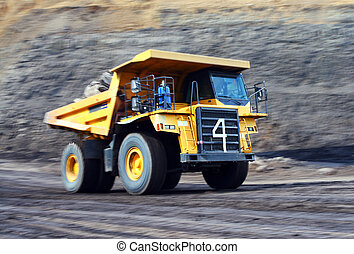 Moving dump truck - Coal dump truck at open cast mine