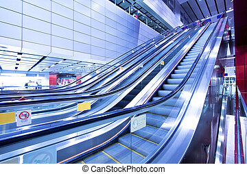 Moving escalator in blurred motion