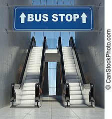 Moving escalator stairs in building, bus stop sign - Moving...