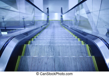 Escalator with blue toned color