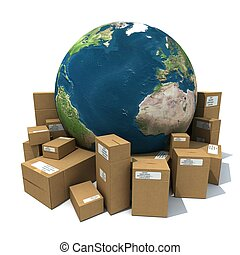 3D rendering of the Earth and a heap of cardboard boxes