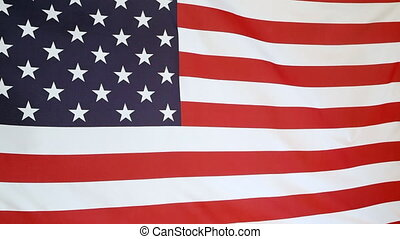 Moving fabric United States flag in the wind