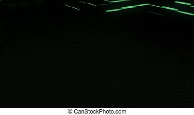 Moving floor - A moving floor of glowing cubes.