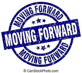 moving forward blue round grunge stamp