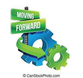 moving forward illustration design over a white background