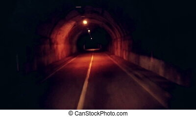 Moving forward in the dark and gloomy underground tunnel....