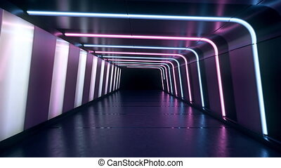 Moving forward inside an endless tunnel with glowing blue...