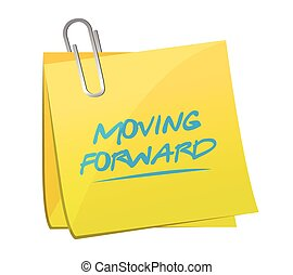 moving forward post it illustration design over a white ...