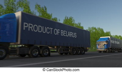 Moving freight semi trucks with PRODUCT OF BELARUS caption on the trailer. Road cargo transportation. Seamless loop 4K clip
