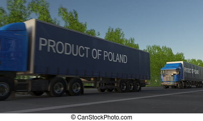 Moving freight semi trucks with PRODUCT OF POLAND caption on the trailer. Road cargo transportation. Seamless loop 4K clip