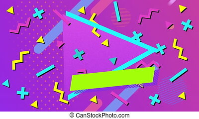 Animation of multiple geometric shapes and circles moving in hypnotic motion in seamless loop on purple background. Colour light and movement concept digitally generated image.