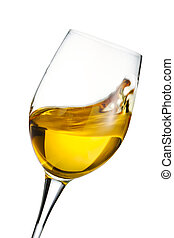 Moving glass of white wine