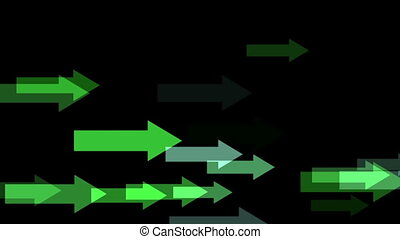 Moving Green arrows in the black background
