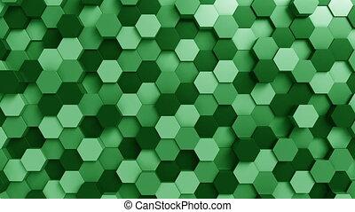 Moving green hexagons