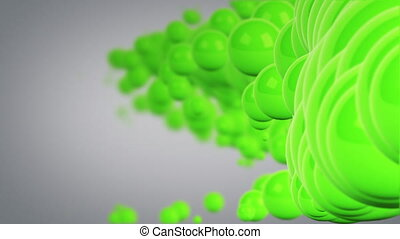 moving green spheres abstract background loop