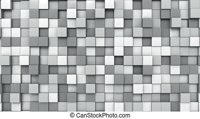 Moving grey cubes mosaic background