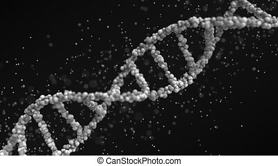 Moving grey DNA molecule with particles, seamless loop -...