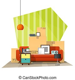 Moving home concept background with cardboard boxes and furniture in new living room 1