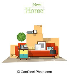 Moving home concept background with cardboard boxes and furniture in new living room 2