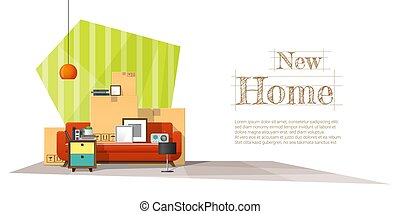 Moving home concept background with cardboard boxes and furniture in new living room 3