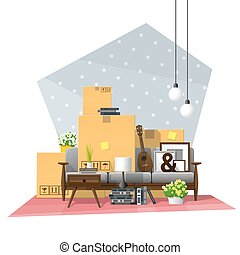 Moving home concept background with cardboard boxes and furniture in new living room 4