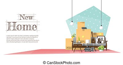 Moving home concept background with cardboard boxes and furniture in new living room 6