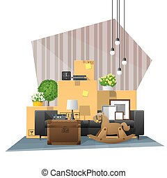 Moving home concept background with cardboard boxes and furniture in new living room 7