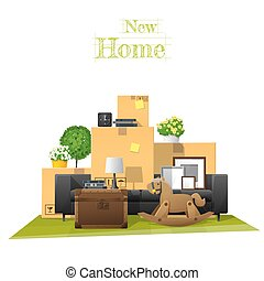 Moving home concept background with cardboard boxes and furniture in new living room 8