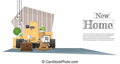 Moving home concept background with cardboard boxes and furniture in new living room 9