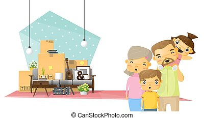 Moving home concept background with happy family and furniture in new living room 2