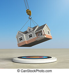 Moving  home. Crane with house and target. Change of residence. Real estate concept.