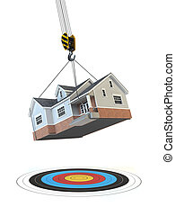 Moving  home. Crane with house and target isolated on white. Change of residence. Real estate concept.