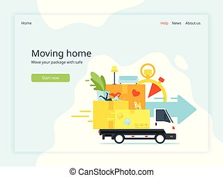 moving home landing page - Vector flat style concept for ...