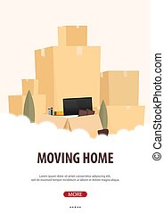 Moving Home, We are moved. Moving Truck with Boxes. Vector ...