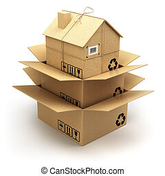 Moving house. Cardboard box as home isolated on white. Real estate market. Delivery concept.