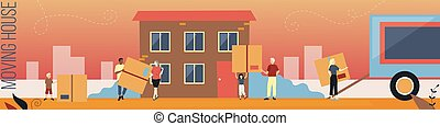 Moving House, Family Relocation Concept. A Group Of People Of Different Ages Carrying Big Boxes With Various Stuff From A Truck To The New House. Colorful Flat Style Horizontal Vector Illustration