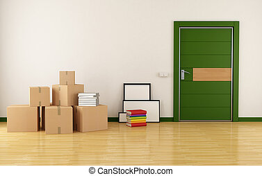 Moving house - home interior with cardboard boxes books and...