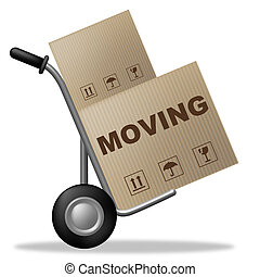 Moving House Indicates Buy New Home And Box - Moving House...