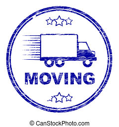 Moving House Stamp Represents Change Of Residence And Lorry...