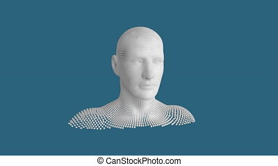 Moving human bust on blue background