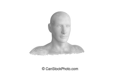 Moving human bust on white background